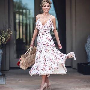 MISA Aviana Maxi Dress In White Multi Floral